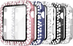 Simpeak 5 Pack 42mm Double Bling Case Built-in Glass Screen Protector Compatible with Apple Watch Series 3 2 1, Crystals Protector Case Replacement for iWatch 42mm, Rose Gold Pink/Black/Silver/Clear