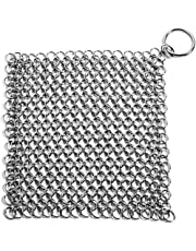 Kihappy Stainless Steel Cast Iron Scrubber Cleaner , 8x6 inch for Pan, Skillet, Griddle and Wok