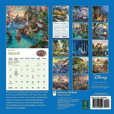 Disney 2019 Calendar Amazon.: 2019 Thomas Kinkade Disney Dreams Collection Wall