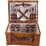 Cestino da picnic completo di articoli per la tavola in porcellana 4 persone cesto di vimini cestino da picnic in salice in legno cestino da picnic in vimini set da picnic (LYP1801, Beige)