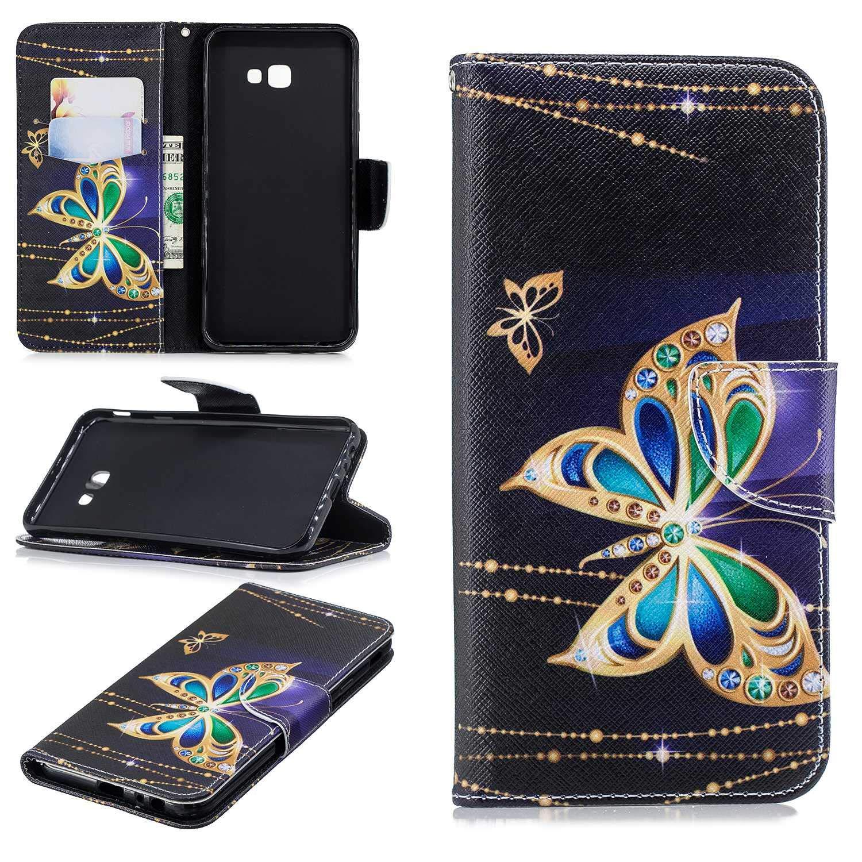 HCUI Compatible avec Galaxy J4 Plus 2018 Coque Cuir Étui Wallet Housse, Portefeuille de Protection Coque avec Fonction Support Magnétique Pochette Antichoc Coque - Papillon noir.