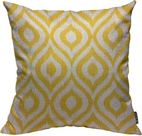 Mugod Yellow Geometric Throw Pillow Cover Seamless Retro Background In Modern Ikat Pattern Decorative Square Pillow Case For Home Bedroom Living Room Cushion Cover 18x18 Inch Home Kitchen