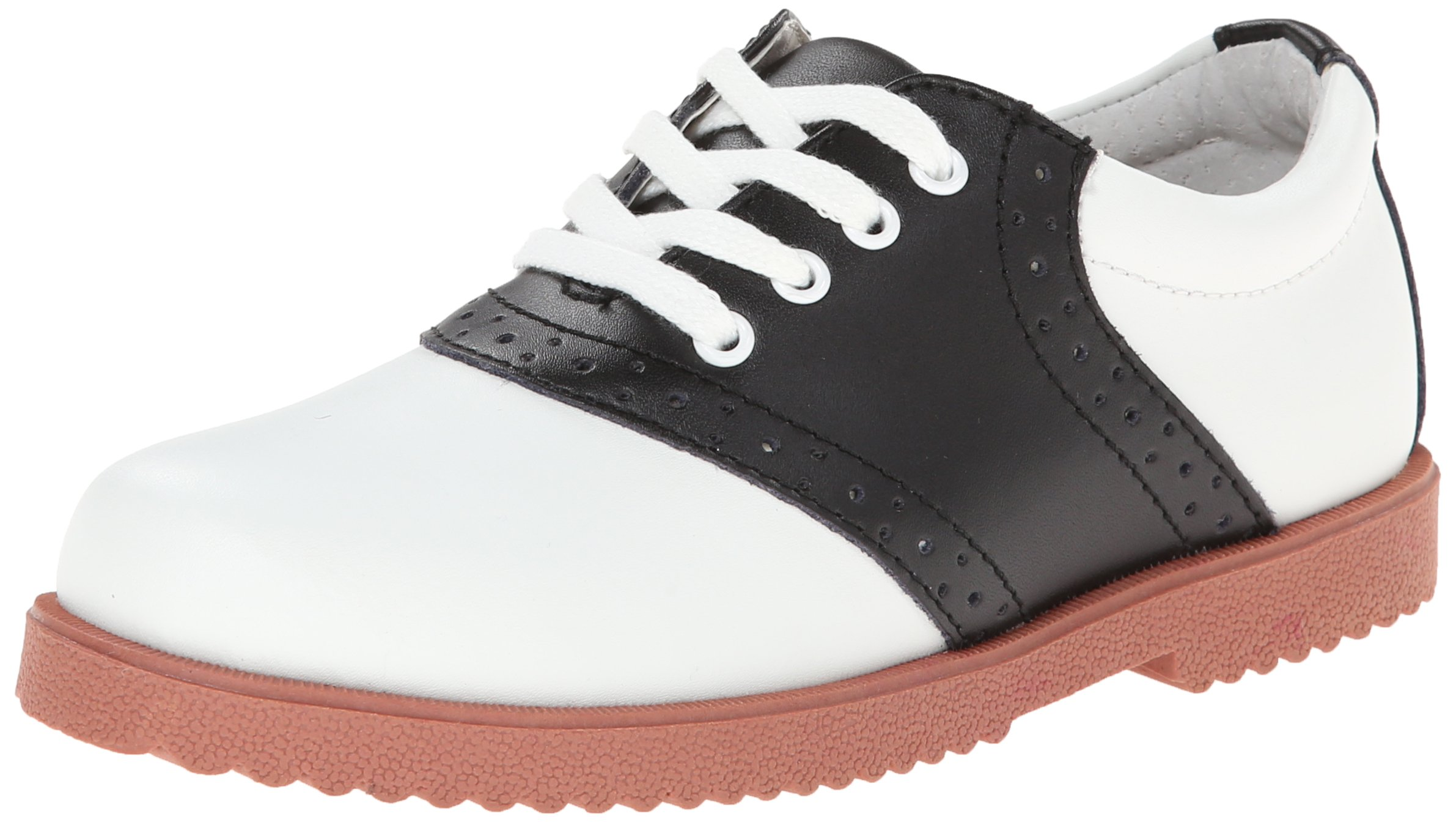 Academie Gear Honor Roll Saddle Shoe (Toddler/Little Kid/Big Kid),White/Black,4 W US Big Kid