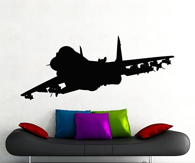 Jet Airplane Fighter Silhouette Wall Decal Aircraft Bomber Military Plane Vinyl Sticker Home Nursery Kids Boy Girl Room Interior Art Decoration Any Room Mural Waterproof Vinyl Sticker 138xx Arts Crafts Sewing