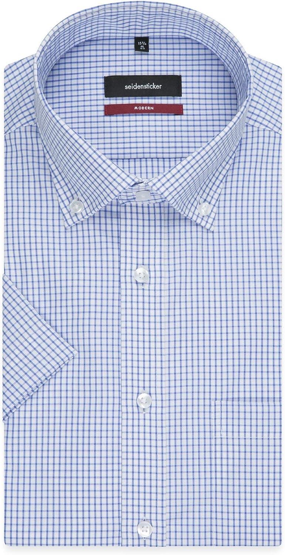 Seidensticker Herren Business und Freizeit Hemd Modern Fit kurz/ärmliges Hemd mit Kent Kragen B/ügelfreies 100/% Baumwolle Kurzarm