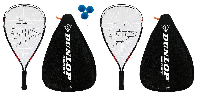 2 x Dunlop Nanomax Ti Raquetbol Raquetas 3 dunlop Esferas