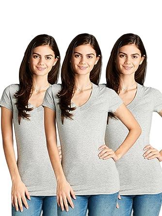 297bb2f4cb4 Emmalise Women s Deep V-Neck Short Sleeve T Shirts - Small to 3XL at ...