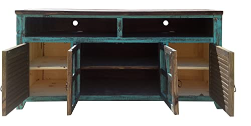 Hiend 60 Inch Rustic Western Turquoise Antique Distressed Reclaimed Wood Look TV Stand Solid Wood Already Assembled 60 inch Turquoise