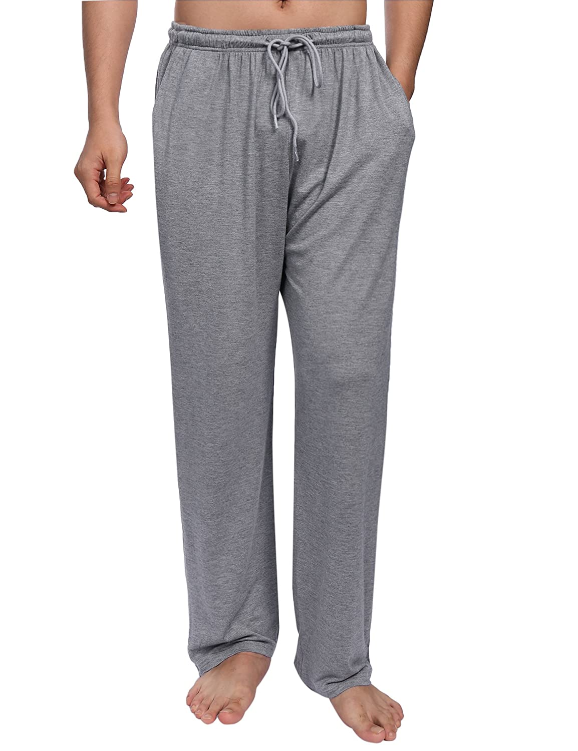 Aibrou Mens Pyjama Bottoms, Casual Plain Modal Soft Long Lounge Pants Trousers Nightwear