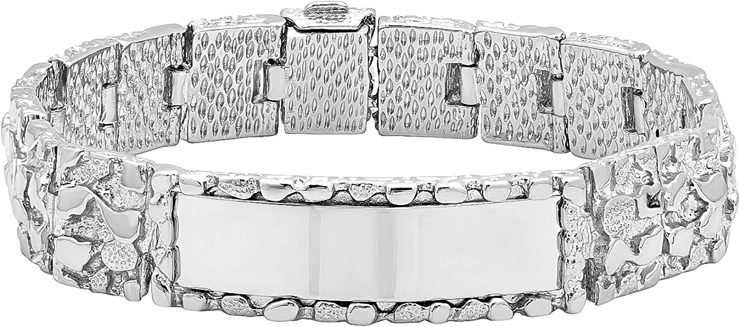 The Bling Factory Large 15mm Rhodium Plated Thick Nugget Textured ID Link Bracelet + Microfiber