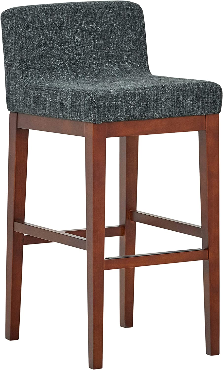 Rivet Mid-Century Modern Upholstered Low Back Kitchen Bar Stool, 41 Inch Height, Blue