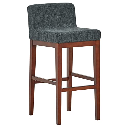 Rivet Mid-Century Modern Upholstered Low Back Kitchen Bar Stool, 41 H, Blue