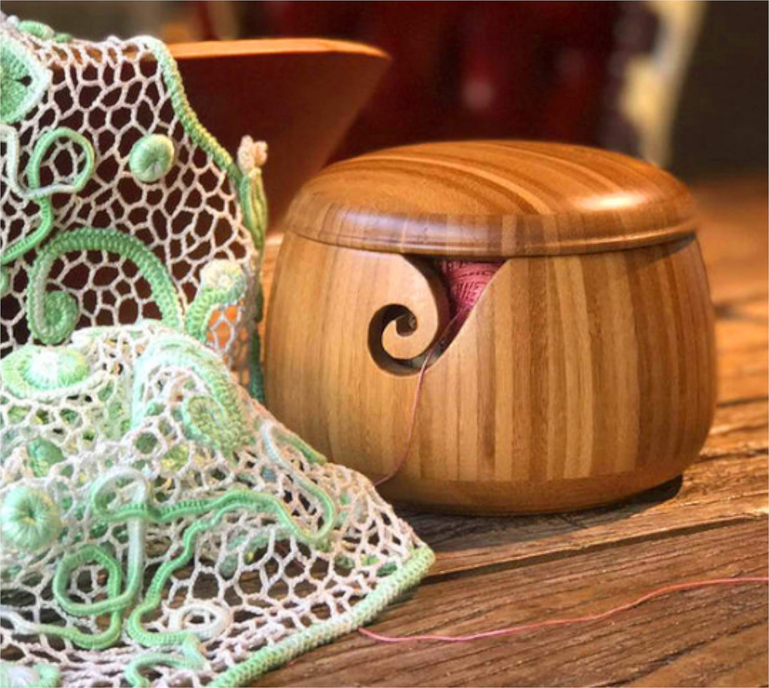 Trusafe Bamboo Yarn Bowl Knitting Accessories Yarn Holder Crochet Accessories Knitting Bowl (9'' x 9'' x 6.3'')