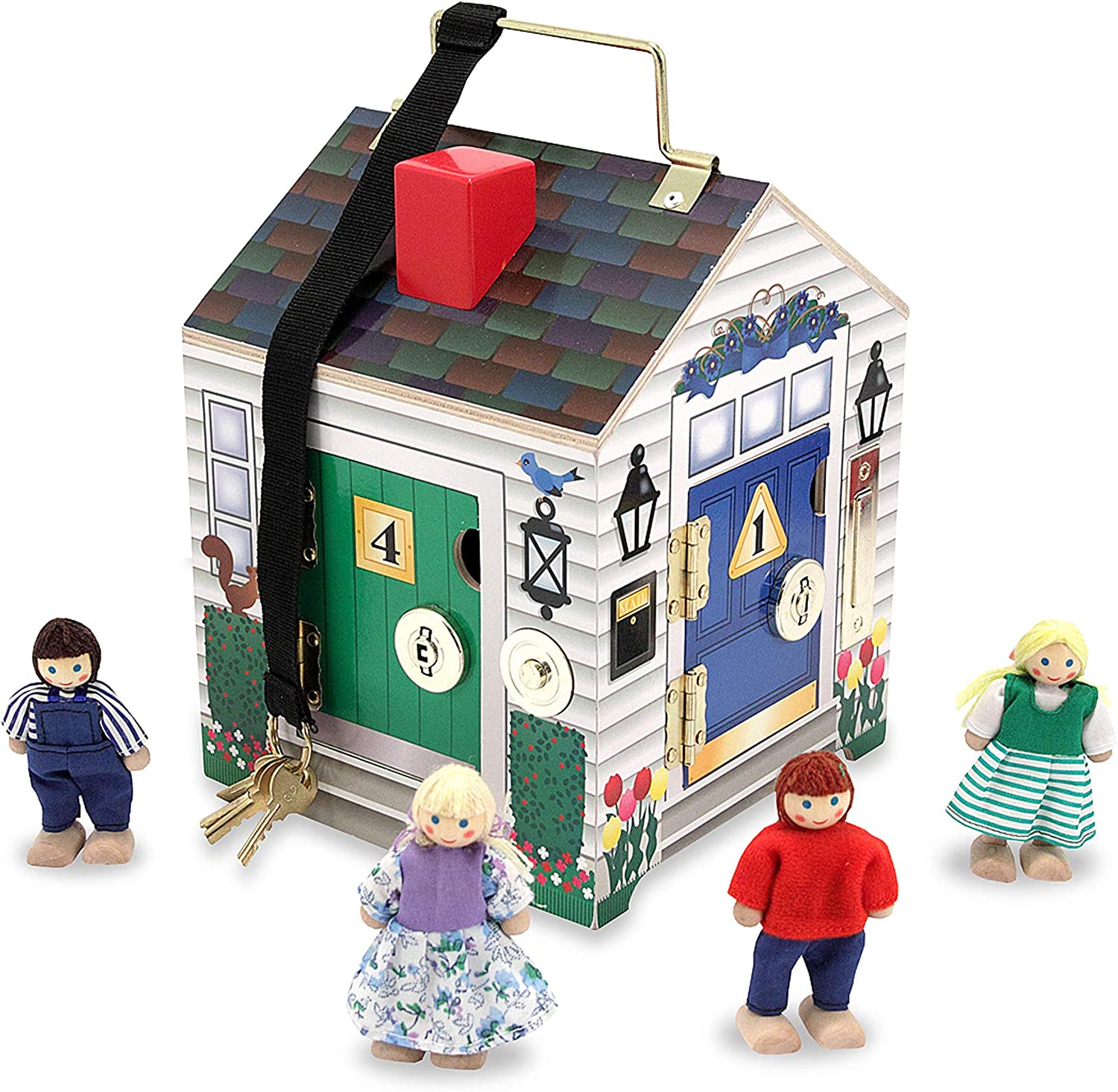 """B00021HB9U Melissa & Doug Take-Along Wooden Doorbell Dollhouse (Doorbell Sounds, Keys, 4 Poseable Wooden Dolls, 9"""" H x 6.8"""" W x 6.8"""" L, Great Gift for Girls and Boys - Best for 3, 4, and 5 Year Olds) 81iA2hCVb1L"""