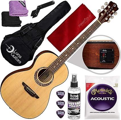 Luna Gypsy Muse Parlor - Guitarra de abeto con afinador y bolsa de ...