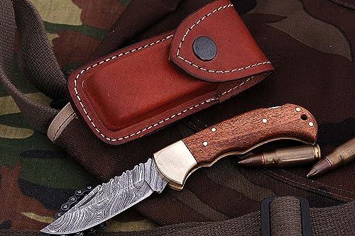 FN-9003, Custom Handmade Damascus Steel 6.5 Inches Folding Knife – Beautiful Wallnut Wood Handle with Brass Bolster
