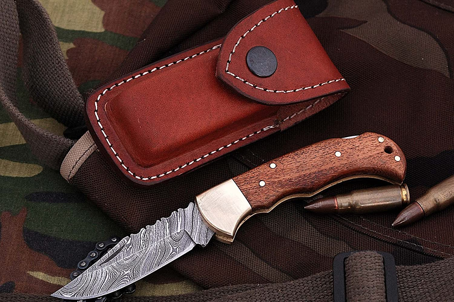 Poshland Knives FN-9003, Custom Handmade Damascus Steel 6.5 Inches Folding Knife – Beautiful Wallnut Wood Handle with Brass Bolster