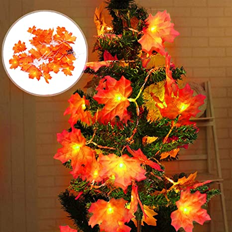 10//20//50 LED Maple Lights Leaves Garland Fairy String Christmas Decor Xmas Tree