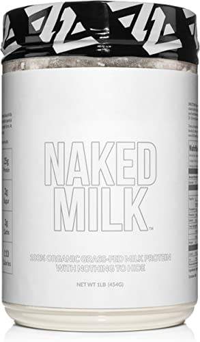 Naked Milk – 1LB 100 Organic Milk Protein Concentrate from US Farms Whey and Casein – GMO Free, Preservative Free – Enhance Muscle Growth – Promote Maximum Recovery – 15 Servings