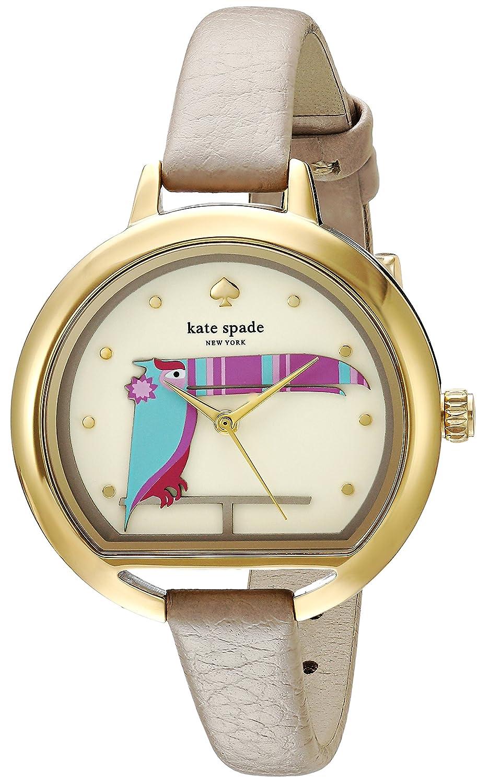 Kate Spade New York Reloj Casual Pecera en forma de caso cuarzo acero de las mujeres y cuero, Color: (modelo: KSW1328) Un tamaño Taupe/oro: Kate Spade: ...