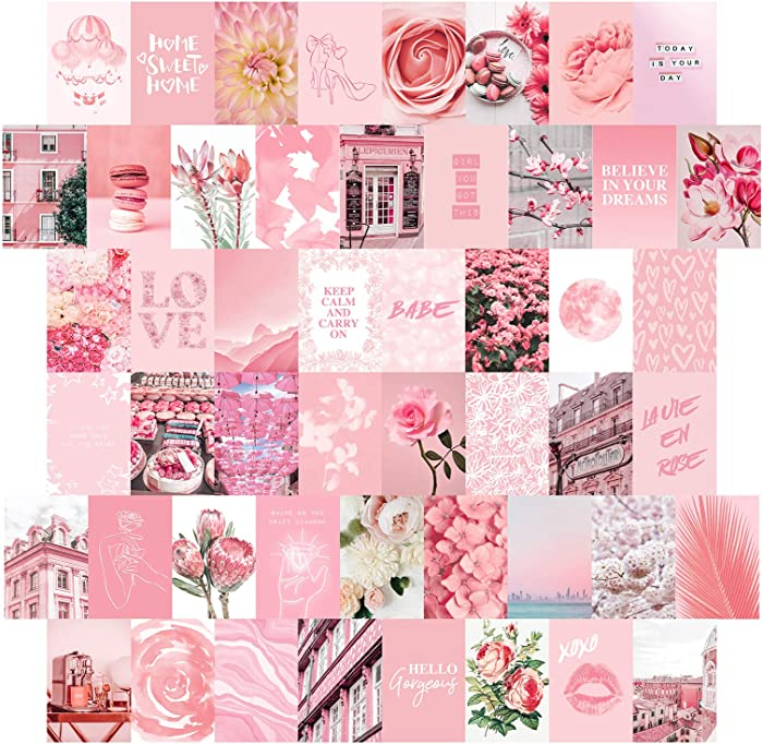 Artivo Pink Wall Collage Kit Aesthetic Pictures 50 Set 4x6, Pretty Blush Pink Wall Decor for Teen Girls, College Dorm Decor…
