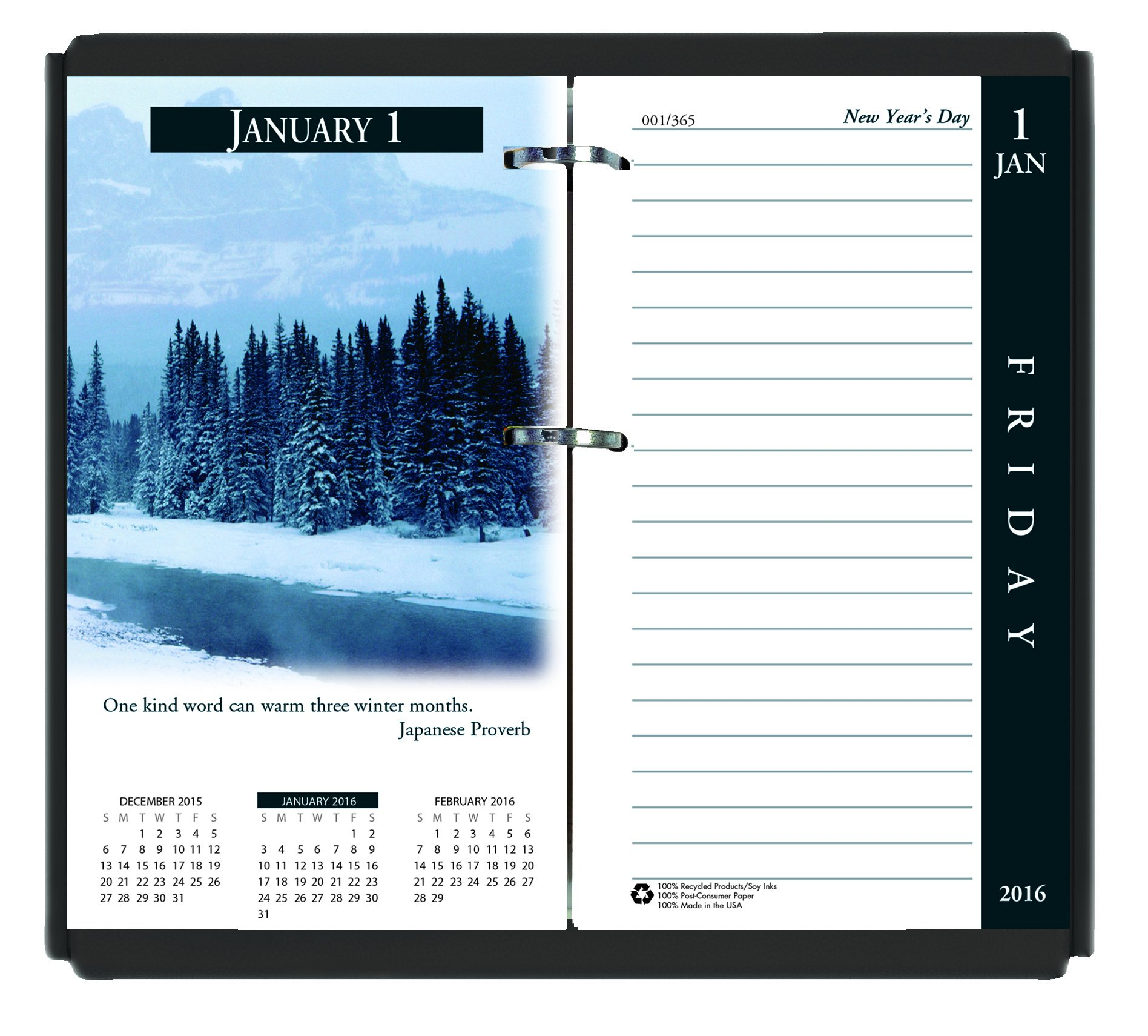 House of Doolittle 2016 Desk Calendar Daily Refill, 3.5'' x 6'', Earthscapes (HOD417-16)