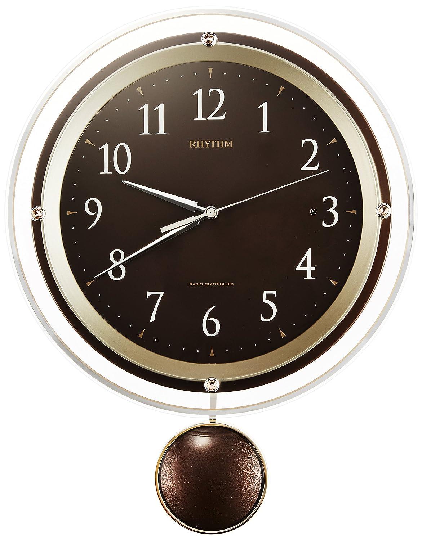 リズム時計 掛け時計 電波 アナログ 振り子 ソフレール クリスタル 飾り付き 連続秒針 茶 RHYTHM 8MX404SR06 B0194F89QI