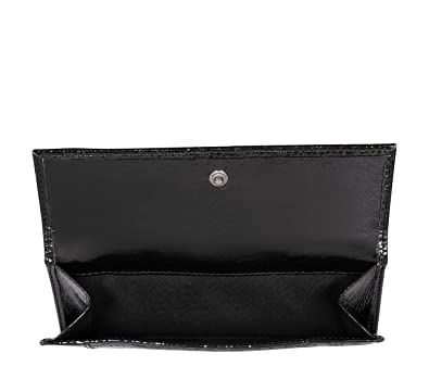 Swiss Label Damen Brieftasche Schwarz Lackleder Silvio Tossi