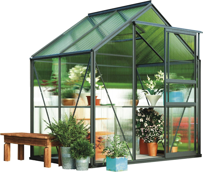 Garden Grow - Invernadero Grande de policarbonato para jardín, Marco Inoxidable, Puerta corredera y Paneles de Pared Dobles compatibles con Base de Acero de 15 x 4 pies, Gris: Amazon.es: Jardín