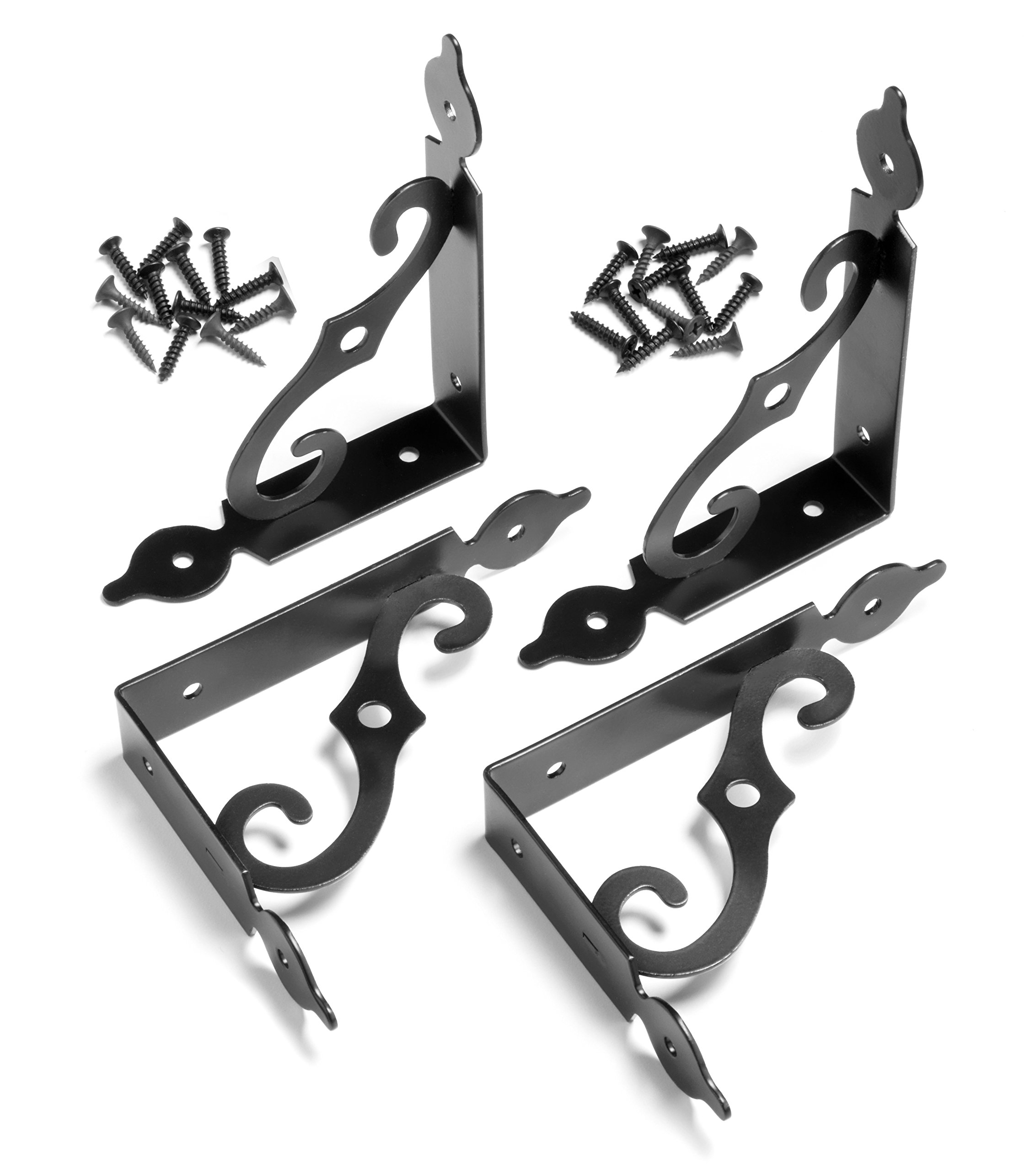 Black Decorative Shelf Brackets with Hardware - Pack of 4 by Mark One Home Goods