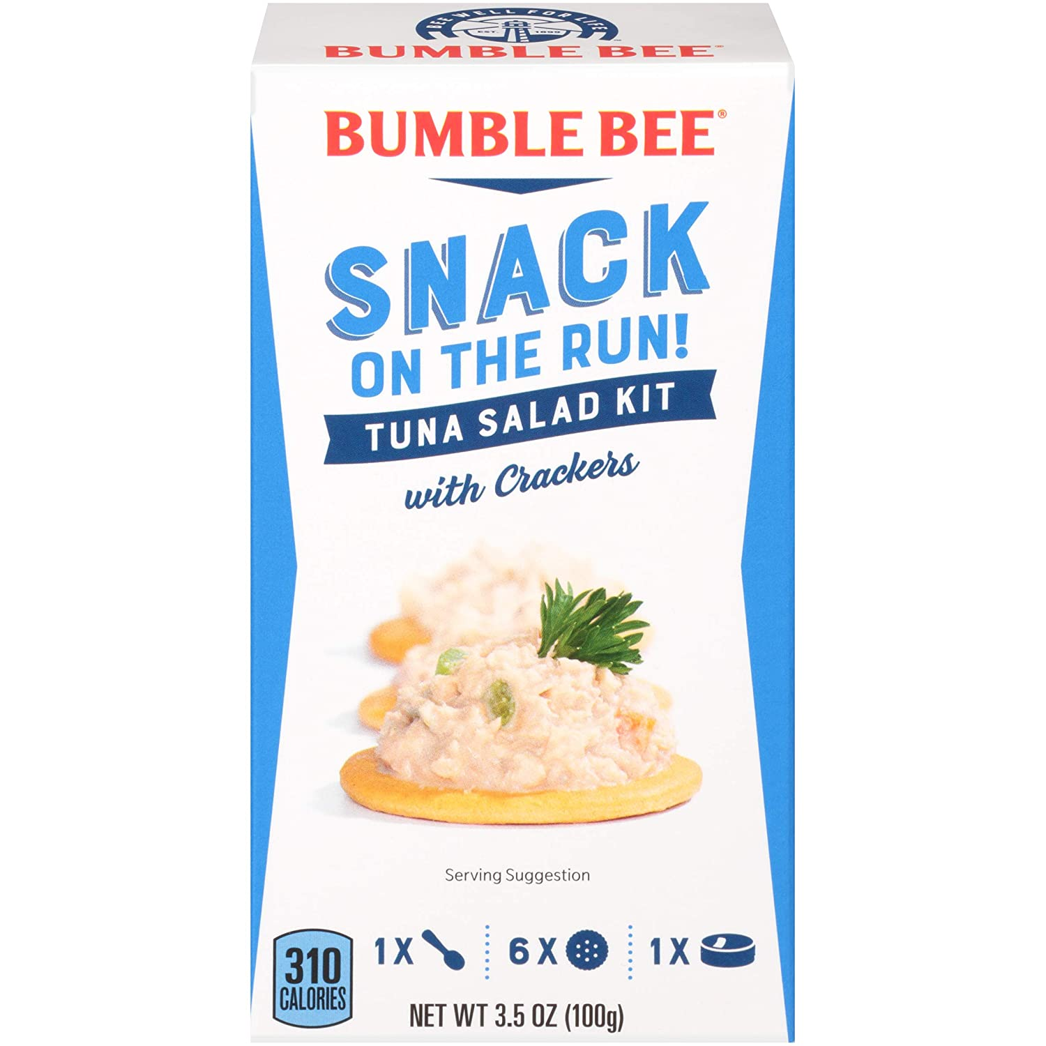 BUMBLE BEE Snack on the Run! Tuna Salad with Crackers Kit, 3.5 Ounce Kit (Pack of 3), High Protein Snack Food, Canned Tuna, Healthy Snacks for Adults