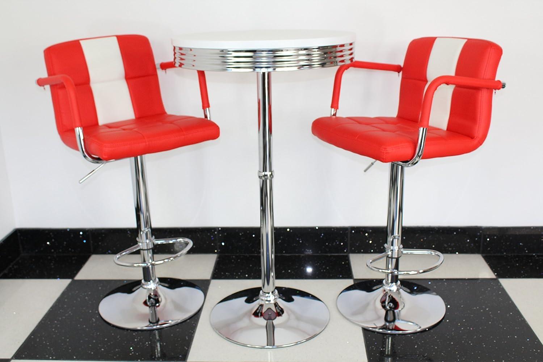 big sale 90250 c3f8e Just-Americana.com American 50s Diner Furniture Retro Style Bistro Table 2  Red Stools