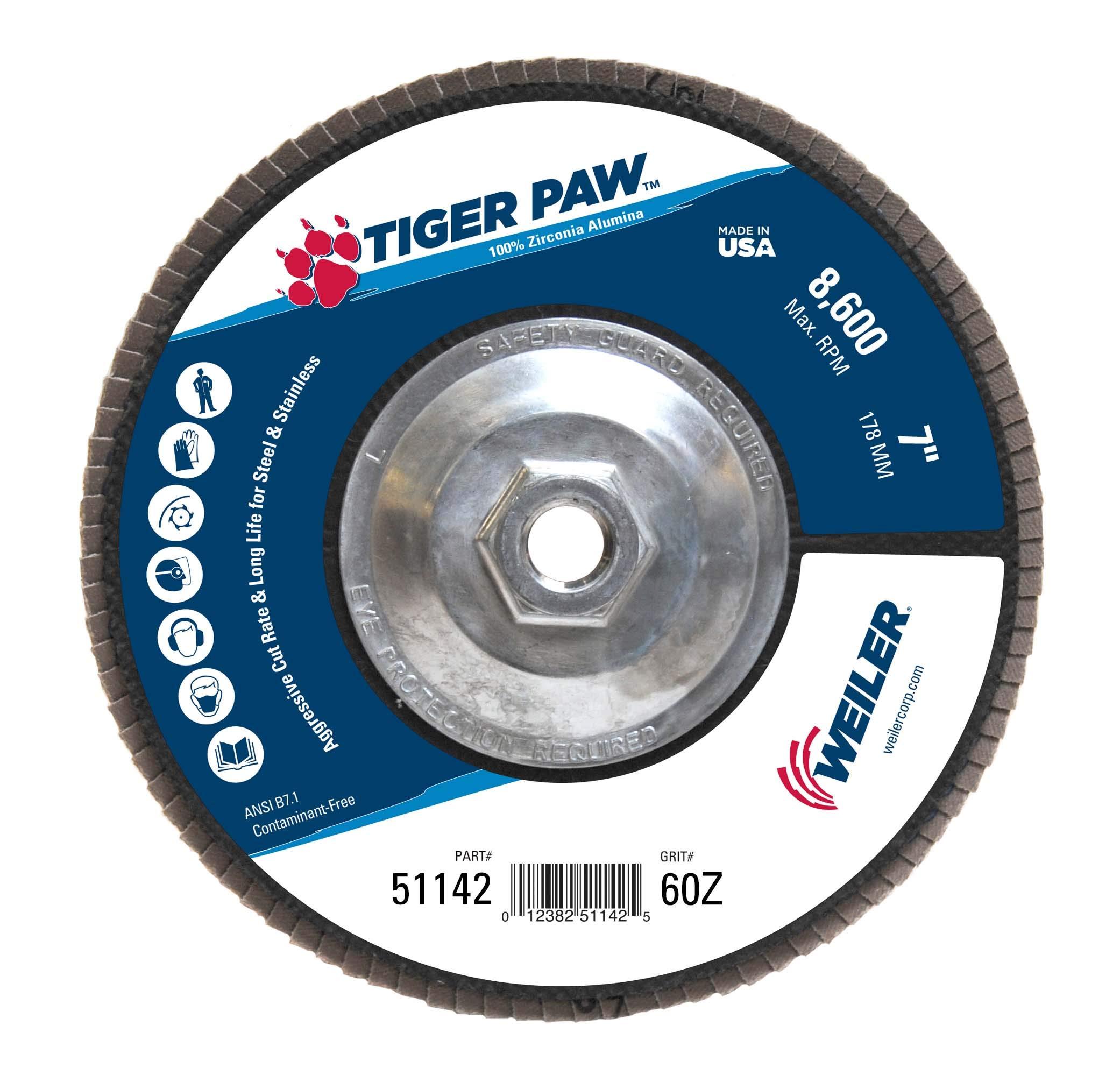 Weiler 51142 Tiger Paw High Performance Abrasive Flap Disc, Type 27 Flat Style, Phenolic Backing, Zirconia Alumina, 7'' Diameter, 5/8''-11 Arbor, 60 Grit, 8600 RPM (Pack of 10)
