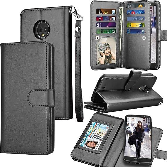 meet 37177 c4e70 Tekcoo Compatible For Motorola Moto G6 Wallet Case / 2018 Moto G6 PU  Leather Case, Luxury ID Cash Credit Card Slots Holder [Black] Carrying  Folio Flip ...