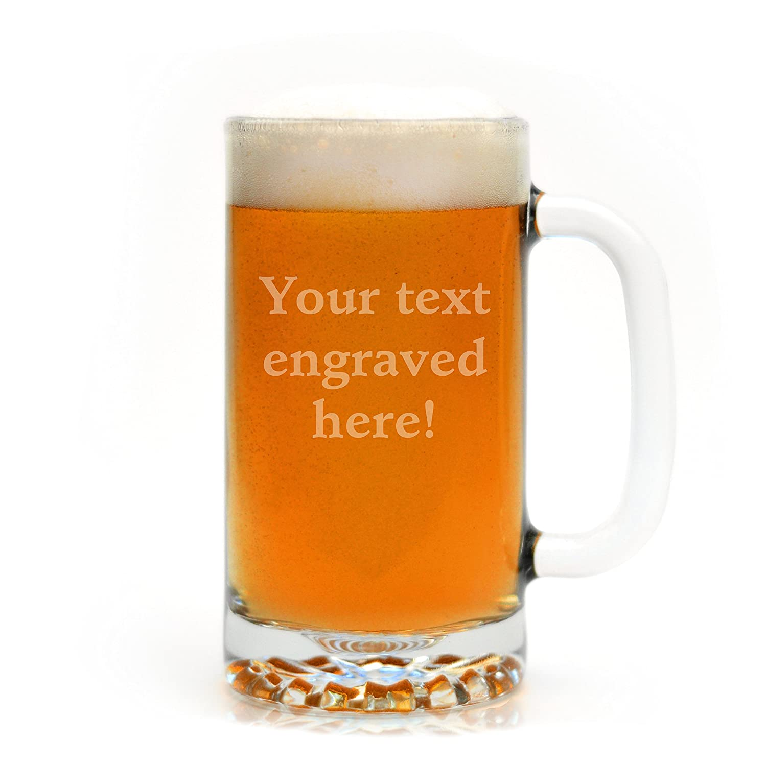 Personalized 16 oz. Beer Mug Engraved with Your Custom Text Glass With a Twist GWAT-C-SM-MYO-1