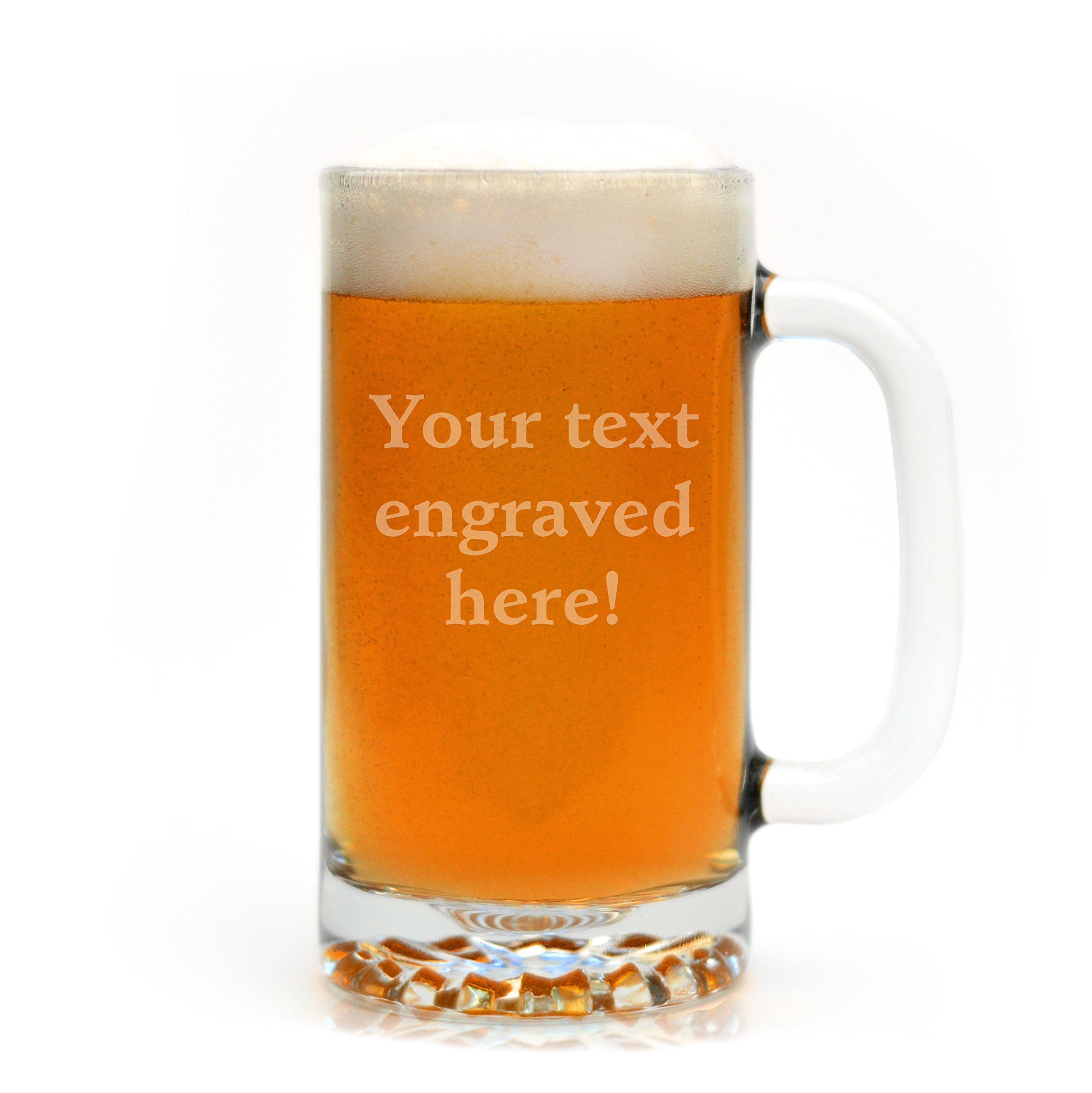 Personalized 16 oz. Beer Mug Engraved with Your Custom Text