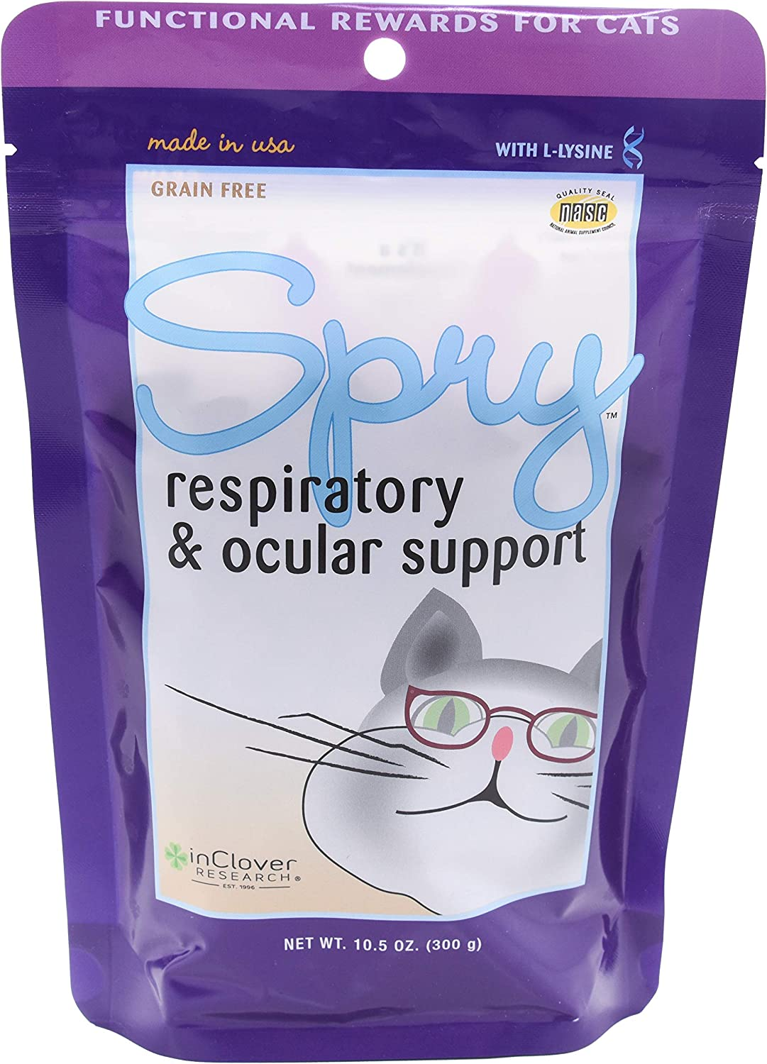In Clover Spry Daily Respiratory and Ocular Support Soft Chews for Cats, with L-Lysine, Superfoods, and Prebiotics for a Strong Immune System