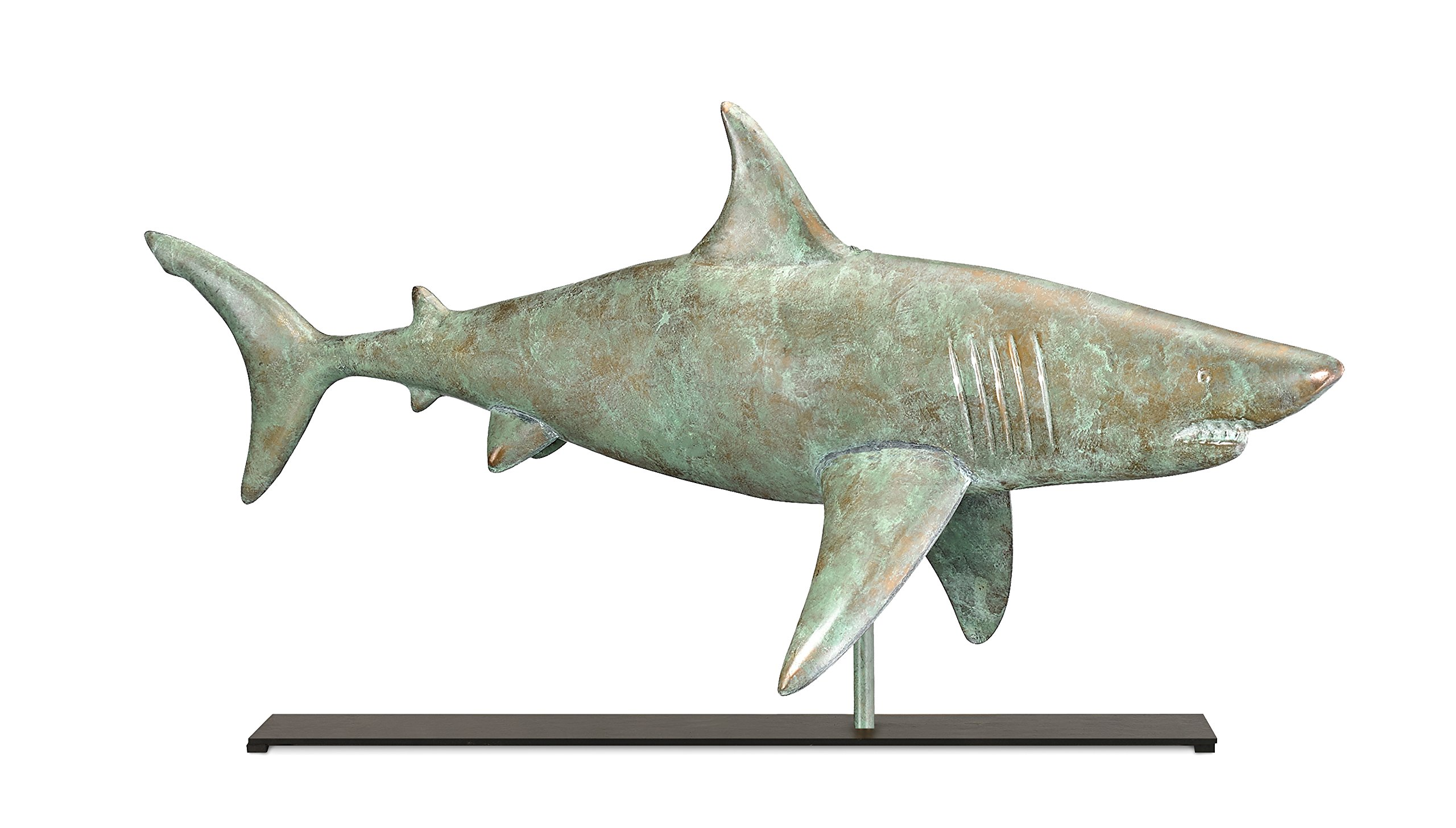 Good Directions Shark Weathervane Sculpture on Mantel / Fireplace Stand, Blue Verde Pure Copper, Nautical Home Décor, Tabletop Accent by Good Directions