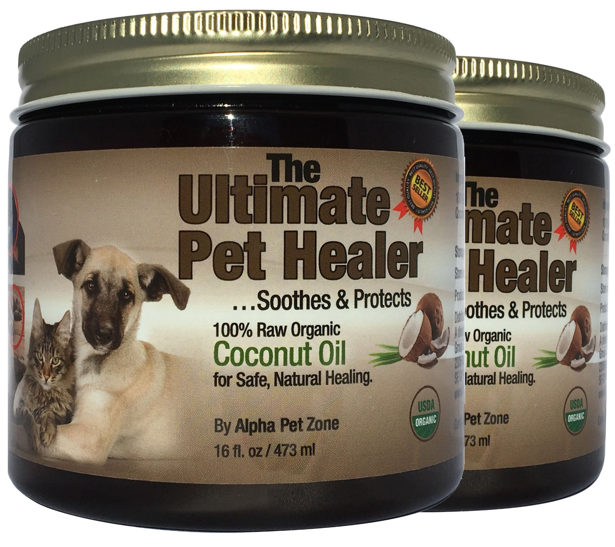 Alpha Pet Zone Coconut Oil for Dogs, Treatment for Itchy Skin, Dry Elbows, Paws and Nose (Pack of 2)