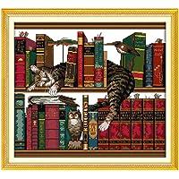 Lixada DIY اليدوية العد التطريز مجموعة 14CT القط على رف الكتب نمط خياطة متقاطعة 41 * 38 سم ديكور المنزل
