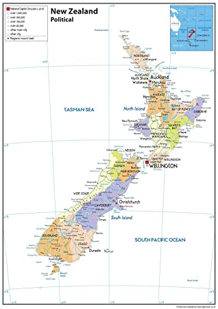 New Zealand Political Map - Paper Laminated - A1 Size 59.4 x 84.1 cm ...