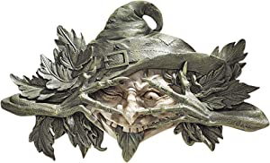 Design Toscano Poison Ivy Forest Witch Greenman Wall Hanging Sculpture, 16 Inch, two tone stone