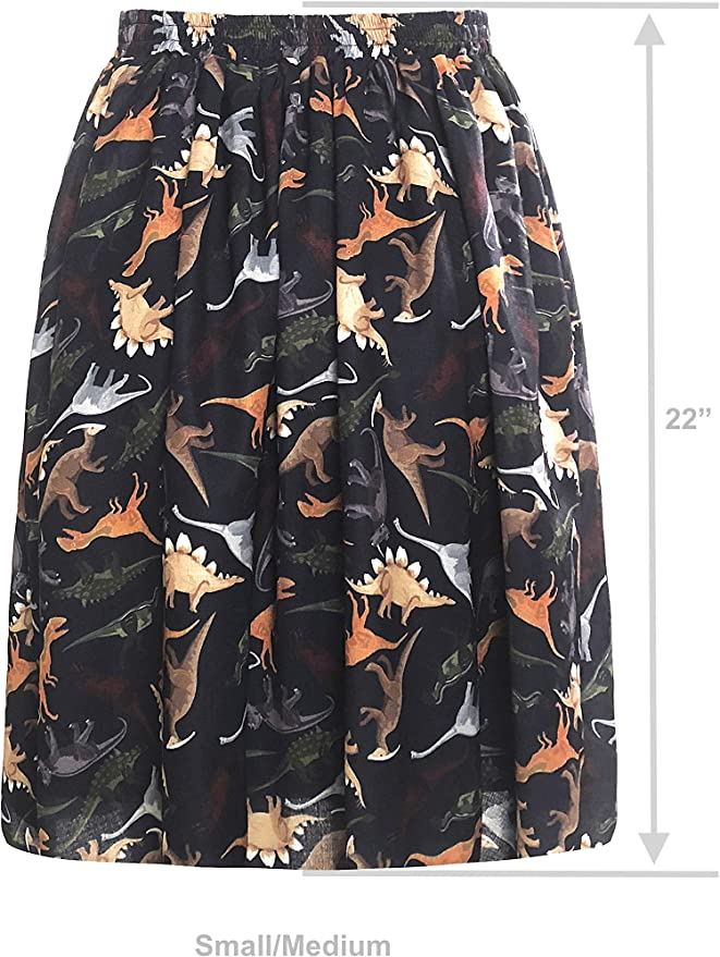 LaVieLente Womens Knee-Length Midi Skirt w//Stretchable Waist Design in Sloth Dinosaur and Other Animal Patterns