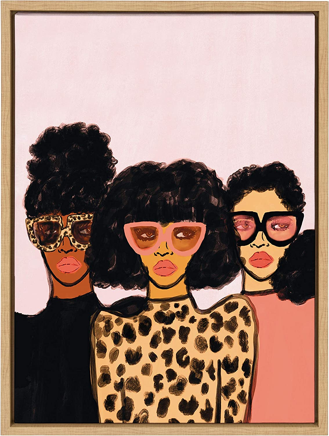 Kate and Laurel Sylvie Shade Squad Framed Canvas Wall Art by Kendra Dandy, 18x24 Natural, Chic Modern Art Decor