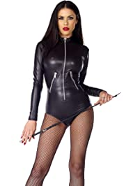 Forplay Women's Faux Leather Long Sleeve Zipfront Bodysuit with Pocket Detail