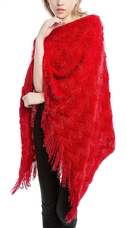 Girls Elegant Poncho Blanket Wrap, Loose Fitting Oversized Cardigan Sweater, Knitting Tassel Poncho Cape Shawls One Size Beige Feoya
