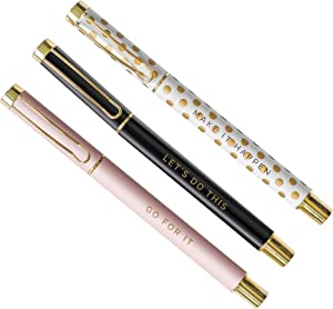 Sweet Water Decor Metal Inspirational Pen Set Inspirational Motivational Quotes Ballpoint Pen Chic Office Decor Gifts for Women Desk Supplies Accessories Gold Cute Pen Sets School Girly Cubicle Bosses