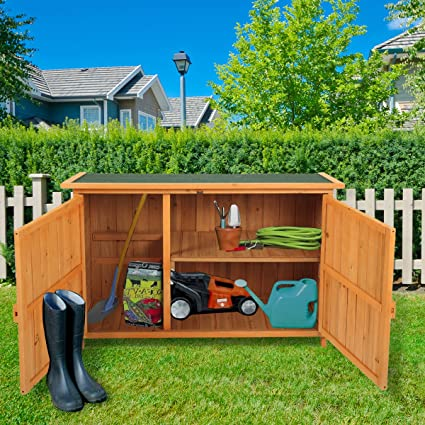 amazon com lazymoon wood garden shed outdoor storage cabinet