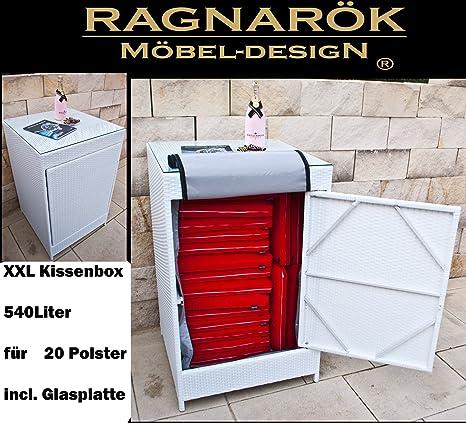 Ragnarök-Möbeldesign PolyRattan Kissenbox DEUTSCHE Marke - EIGNENE Produktion 8 Jahre GARANTIE Glasplatte für 20 Polster (Alp