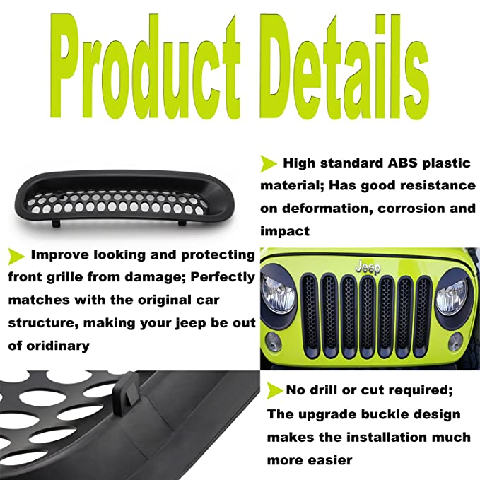 Amazon.com: Yoursme Front Grill Mesh Grille Insert Matte Black Clip-in Covers for Jeep Wrangler JK JKU Sports Sahara Freedom Rubicon X Unlimited X 2/4 Door ...